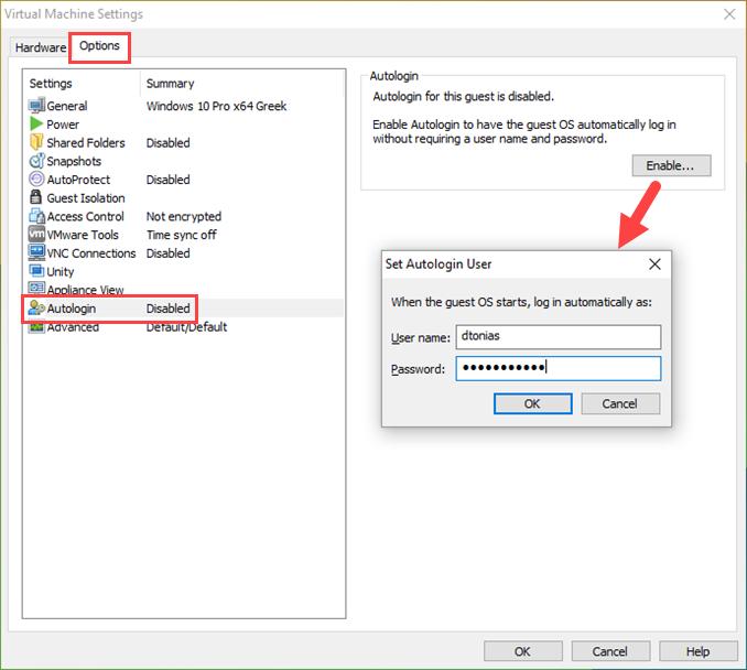 Αυτόματη σύνδεση χρήστη σε Windows VM
