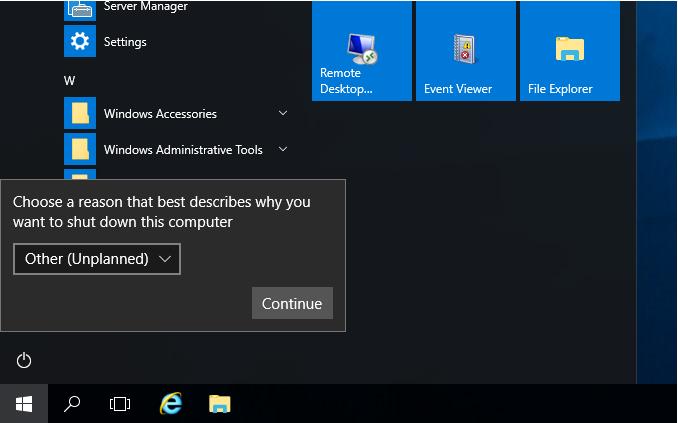 Απενεργοποίηση του Shutdown Event Tracker στον Windows Server 2016