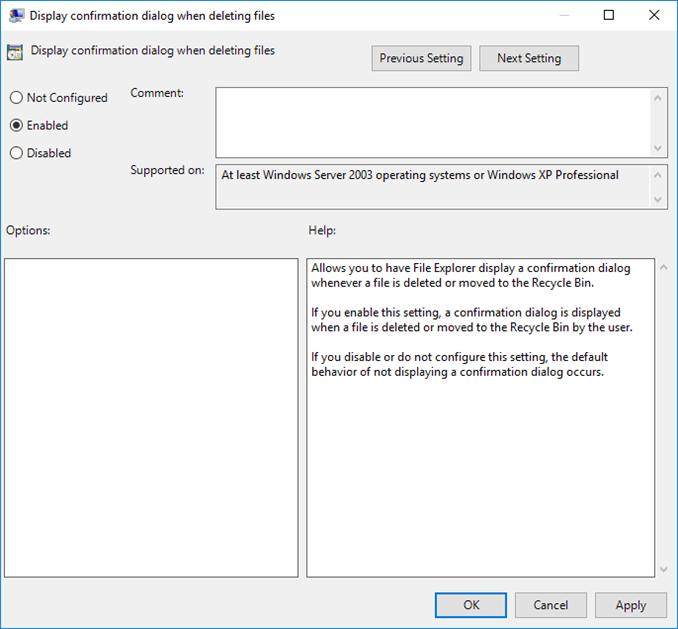 Επιβεβαίωση διαγραφής αρχείων στον Windows Server 2016