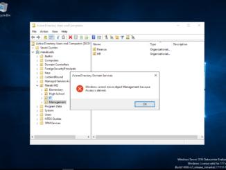 Σφάλμα κατά τη διαγραφή ή μετακίνηση ενός OU στο Active Directory