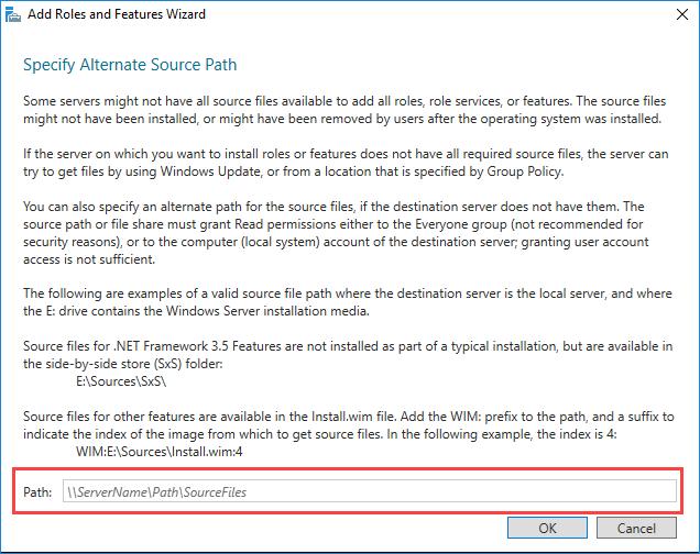 Εγκατάσταση .NET Framework 3.5 στον Windows Server 2016