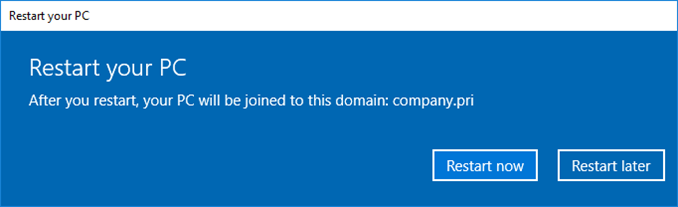 Domain Join ενός Windows 10 PC στο Active Directory