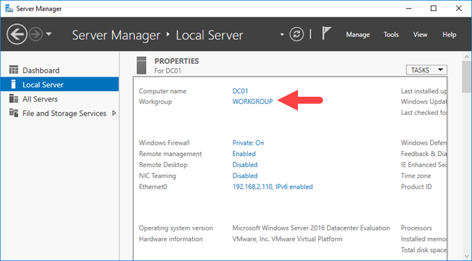Domain join έναν Windows Server 2016 στο Active Directory