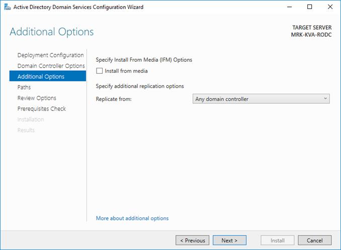 Εγκατάσταση Staged RODC στον Windows Server 2016