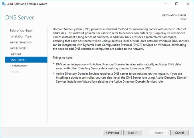 Εγκατάσταση DNS ρόλου στον Windows Server 2016