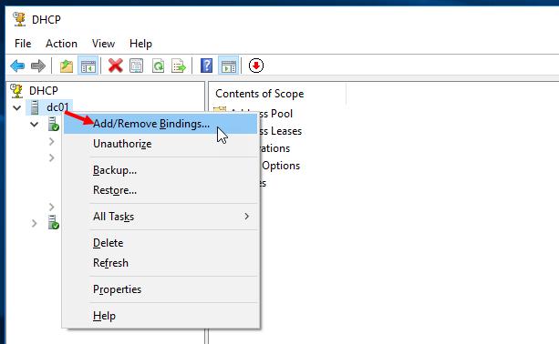 Προσθήκη και αφαίρεση bindings στον DHCP Server 2016