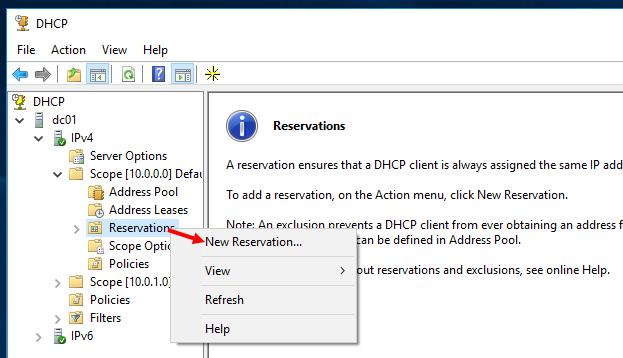 Ρύθμιση Reservations στον DHCP Server 2016