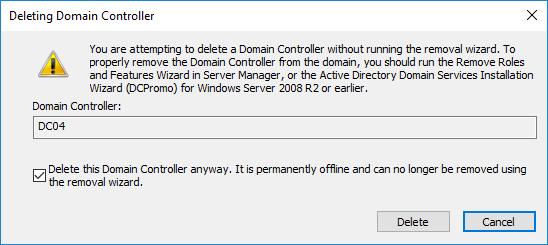 Εξαναγκαστική αφαίρεση DC από το Active Directory