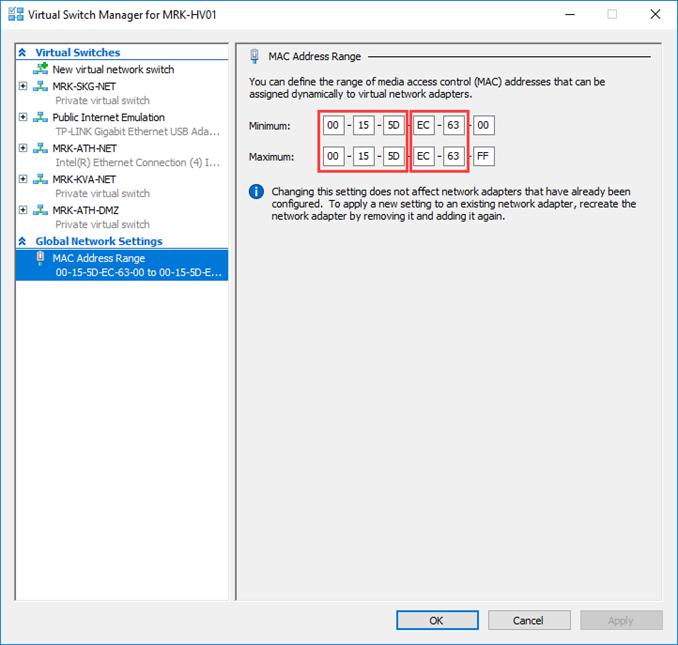 Ρύθμιση δυναμικών MAC διευθύνσεων στον Hyper-V Server 2016