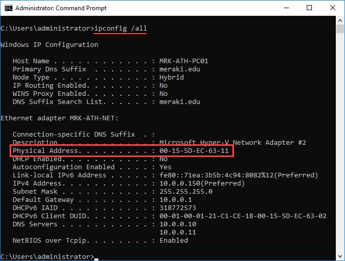 Βρείτε τη MAC διεύθυνση ενός VM στον Hyper-V Server 2016