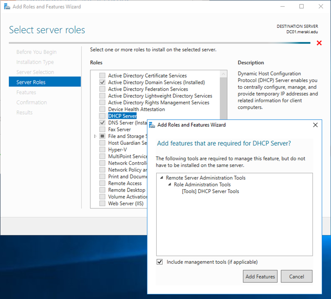 Εγκατάσταση DHCP ρόλου στον Windows Server 2016