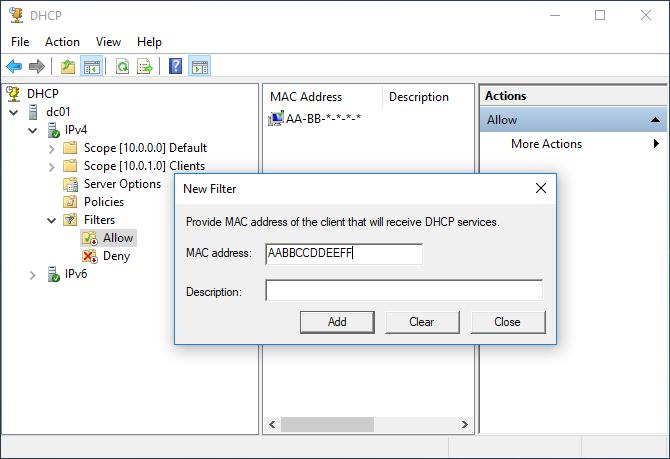 Ρύθμιση Filters στον DHCP Server 2016