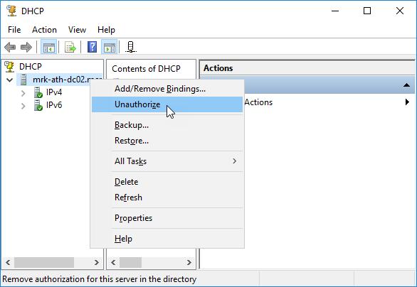 Εξουσιοδότηση (authorize) DHCP Server 2016
